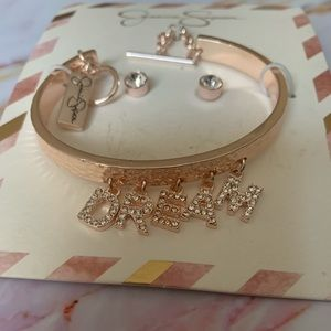 Jessica Simpson Rose Gold Earrings & Bracelet Set